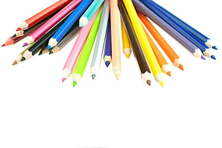 Collection of crayon de couleur for drawing at white background, Multi color pencil 版權商用圖片