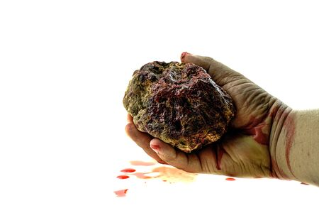 Close up hand is holding stone bloody at white background