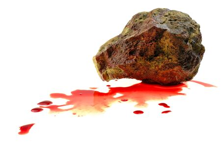 Close up stone bloody at white background