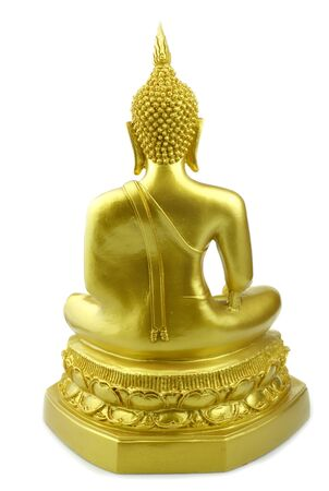 Backside Buddha statue made of gold at isolated white background