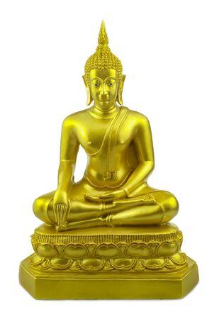 Statua di Buddha d'oro a sfondo bianco isolato Archivio Fotografico