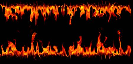 Hot fire flames on abstract art black background Stok Fotoğraf