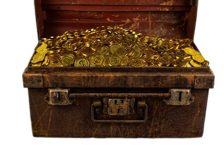 Stacking Gold Coin in treasure chest old steel on white background