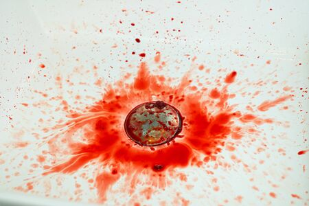 Many blood dripping into the washbasin in the bathroom, bloody and  sink