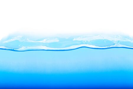 Level water and air bubbles over white background