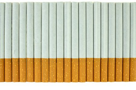 Close up of a cigarette showing on white background