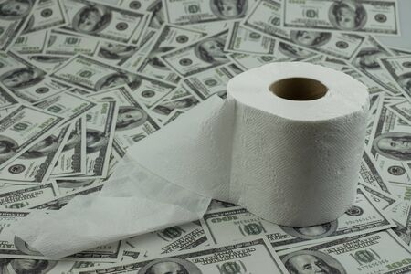 Toilet paper tissue and money of stack 100 US dollars banknote a lot of texture background, That was It costs expensive price and high priced products concept Archivio Fotografico