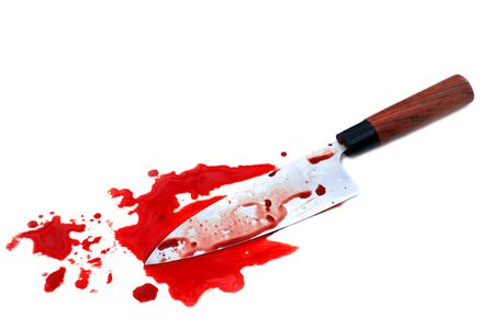 Deba knife kitchen bloody on white background, Halloween day concept