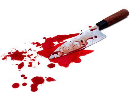 Japanese kitchen deba knife bloody on white background  Reklamní fotografie
