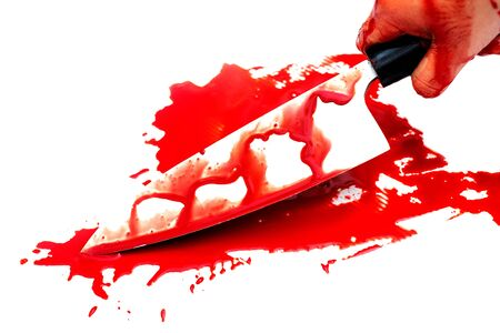 Deba knife bloody in woman hand on white background, Halloween day concept
