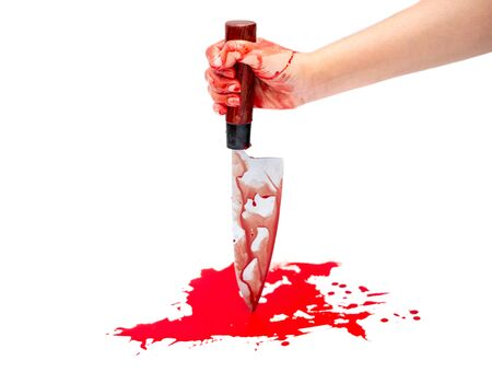 Deba knife bloody in woman hand on white background, Halloween day concept Reklamní fotografie