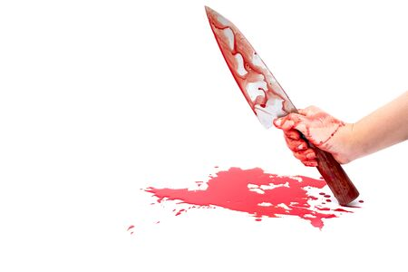 Deba knife bloody in woman hand on white background, Social violence Halloween concept