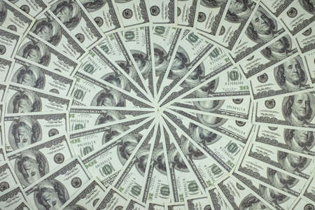 Group of money stack of 100 US dollars banknotes a lot of is arranged in a beautiful circle Imagens