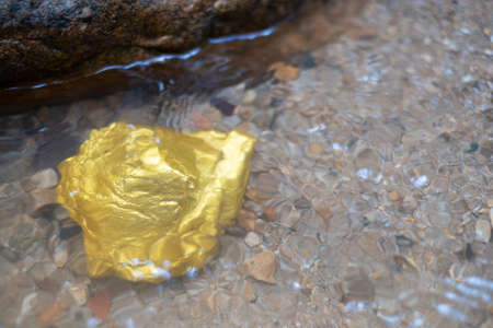 Pure gold nugget ore found in mine with natural water sources