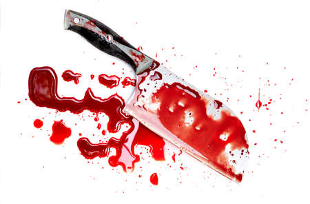 Meat cleaver knife bloody and drop blood on white background
