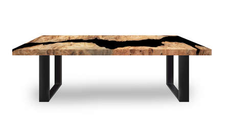 Table modern style made of casting epoxy resin maple burl wood on floor white background Stock fotó