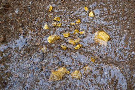 Pure gold nugget ore found in mine with natural water sources Stock Photo