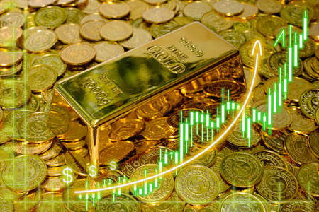 Growth of gold price graph chart to growth investors with bullion background Stockfoto