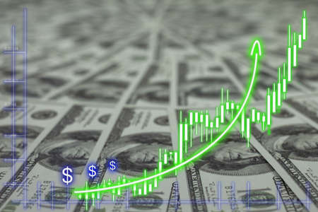 Financial Chart at banknote pile 100 USD background Stockfoto