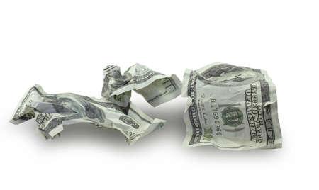 Money crushed one hundred dollar bills isolated on white background Stockfoto