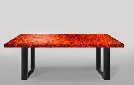 Table modern style made of Padauk burlwood burl with legs made of steel on floor gray background Standard-Bild