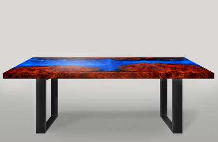 Table modern style made of casting epoxy resin Padauk burl wood legs made of steel on floor white background