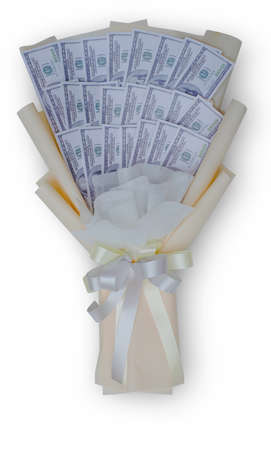 Money bouquet of wrapped in 100 Usd on isolated white background with clipping path
