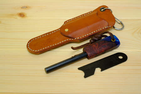 Magnesium flint fire steel and leather case is trekking equipment