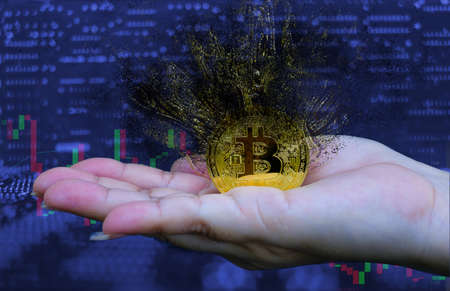 Woman holding gold golden Bitcoin bursting disperses in pieces fragments at computer trading chart background,  Digital money concept, 3D illustration