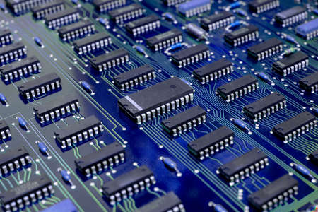 Closeup Electronic circuit board ( PCB )components detail and An integrated circuit (ic) Archivio Fotografico