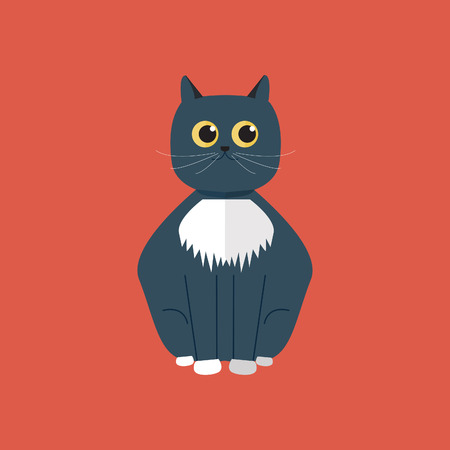 whisker characters: Cat character flat character design Illustration