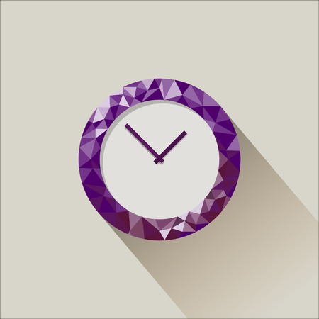 part time: Low poly flat clock illustration with falling shadow Illustration