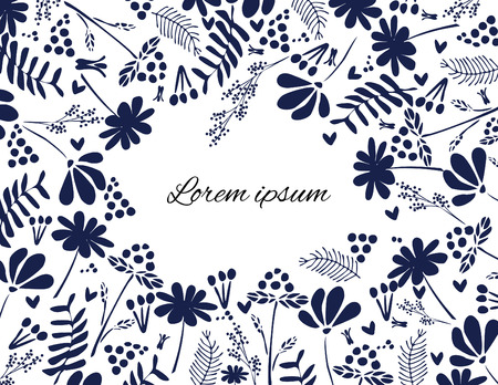 Vector flower and leaf monochrome background for postcards and invitations. Pen tool traced. Eps 8 format.