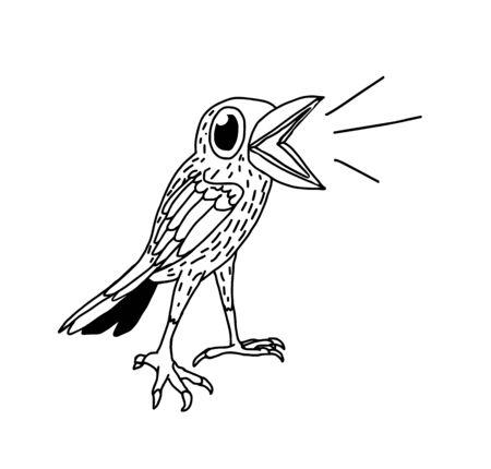 tweeting: Hand drawn black and white doodle tweeting bird.