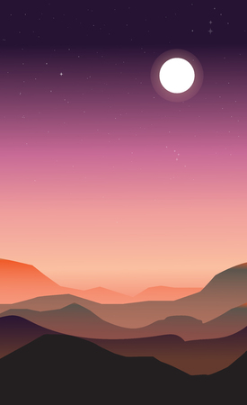 peachy: Abstract landscape of a dawn. Purple and peachy colors. The moon and stars in the sky while the sun is rising.