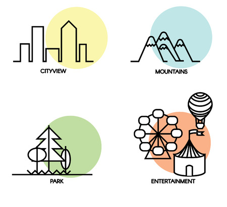 Set of 4 flat landscape and activity icons. Each icon placed on a colored circle.
