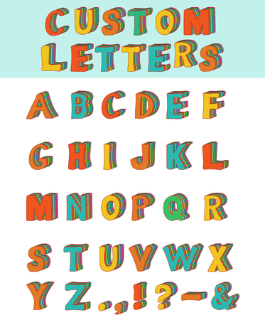 Three-dimensional layered custom children alphabet font. Vector illustration of 3d font characters. Many different colors in layers. Upper case. 8 stock vector.