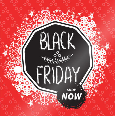 phantasy: Vector Black friday sales badge. Hand written textured phrase decorated by snowflakes, stars and phantasy dots on red background