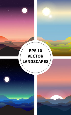 night and day: Set of four abstract landscapes. Depiction of night, day, dawn, and sunset