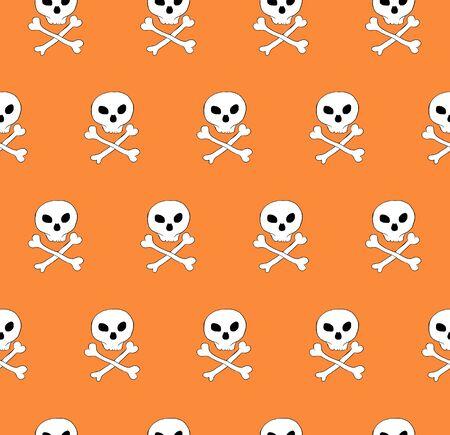phantasy: Vector skull and bones crossed seamless pattern. Diagonal tile, phantasy pattern. Orange background. Illustration