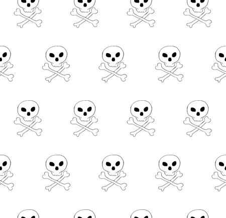 phantasy: Vector skull and bones crossed seamless pattern. Diagonal tile, phantasy pattern. Transparent background.