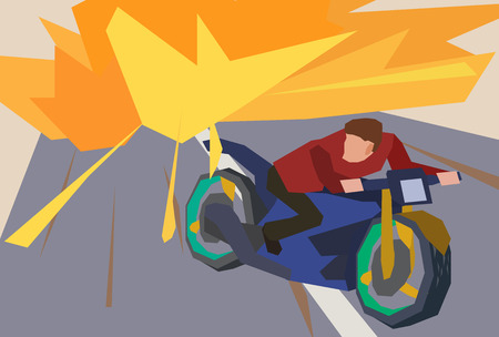 action movie: Man escaping an explosion on a motorcycle. Action movie scene. Flat style illustration. Stock vector.
