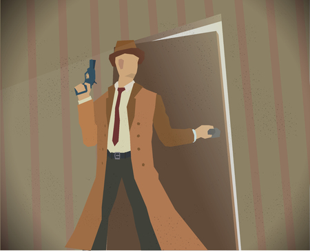 noir: Detective opening a door while holding revolver. Noir style colored illustration. Eps 10 stock vector.