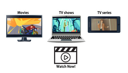 cartoons television: Multiplatform streaming service advertisement. Laptop, TV and phone with movies. Vector illustration. Illustration