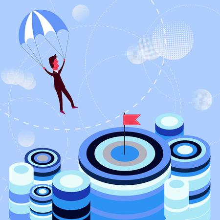 achievment: Golden parachute concept idea. Businessman navigating parachute to the aim. Concept of achievement, profit and success