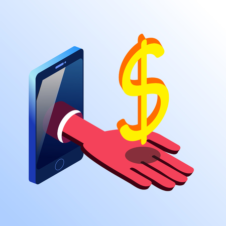 Isometric smartphone showing hand with golden dollar sign. 3d stock illustration