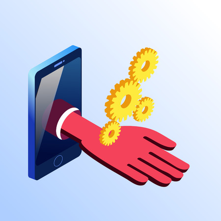 Isometric smartphone showing hand with four gears. 3d stock illustration