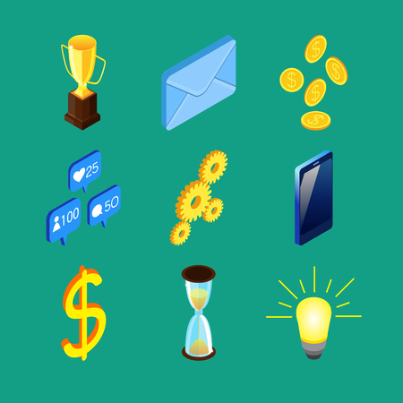 Set of nine colorful isometric icons. Prize cup, envelope, golden coins, social networks notifications, gears, cell phone, dollar sign, sandglass, light bulb. Illustration