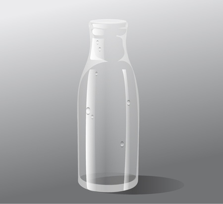 Vector empty glass bottle isolated on grey background