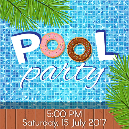 Creative modern flat design invitation to pool party. Sample text, copyspace